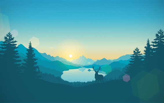 Wallpaper Vector design, landscape, mountains, lake, trees, deer