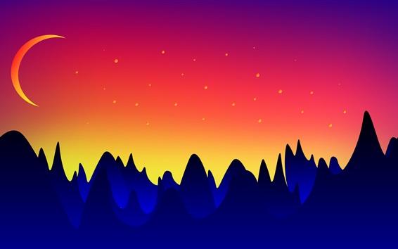 Papéis de Parede Desenho vetorial, montanhas, lua, crepúsculo