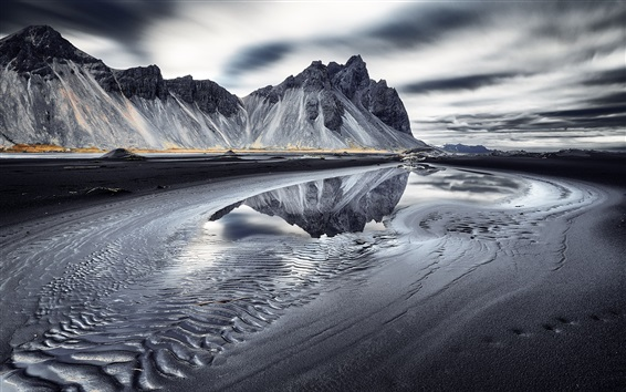Wallpaper Vestrahorn, Iceland, sea, mountains