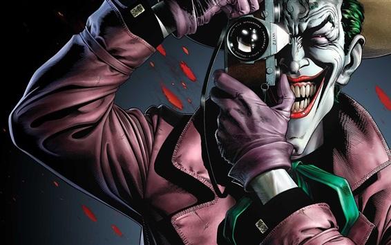 壁纸 恶棍,小丑,牙齿,相机,DC漫画