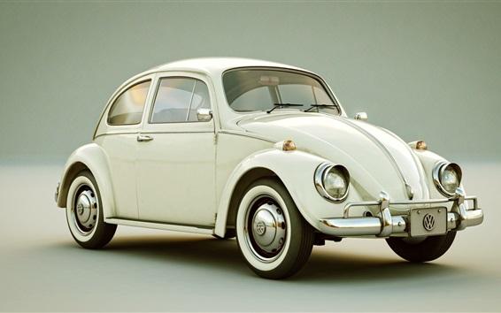 Wallpaper Volkswagen Beetle, white classic car