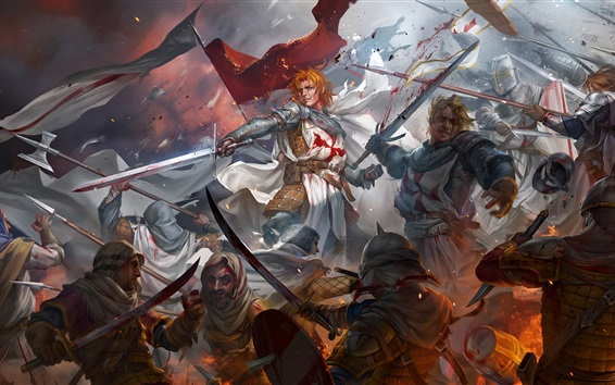 Wallpaper Warriors, battle, swords, crusaders, blood, art picture