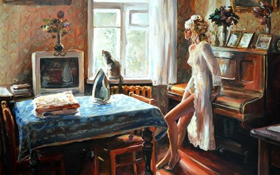 Wallpaper Watercolor painting, room, girl, piano, window