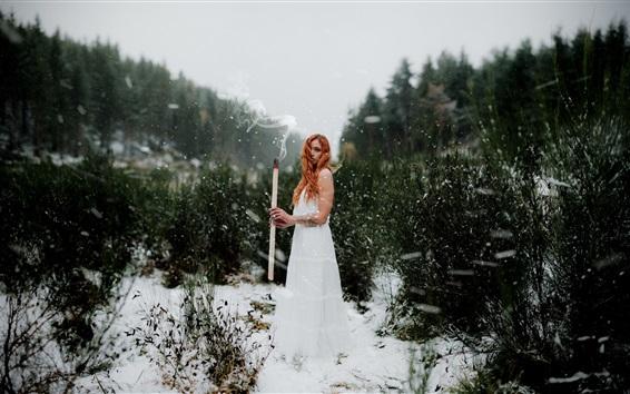 Wallpaper White skirt girl, match, smoke, snow, bushes