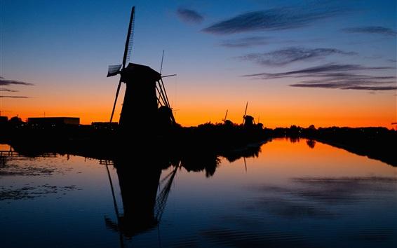 壁紙 風車、シルエット、川、日没、夜