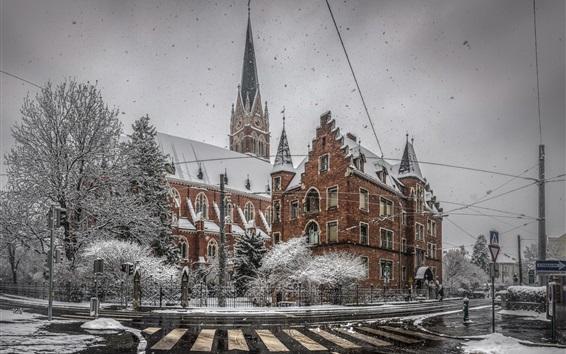 Wallpaper Winter, city, snow, roads, buildings