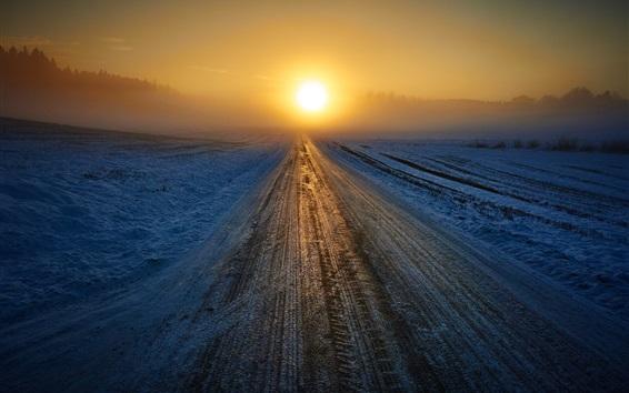 Fond d'écran Hiver, route, lever du soleil, neige, brouillard, matin