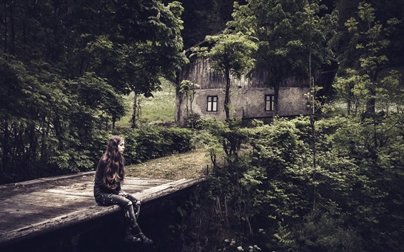 Wallpaper Woman, bridge, house, trees, darkness