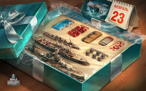 Wallpaper World of Warship, gift, box, toy
