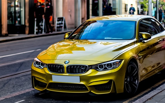 Wallpaper Yellow BMW car stopped at street side
