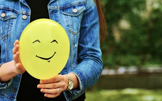 Papéis de Parede Balão amarelo, carinha sorridente, mãos