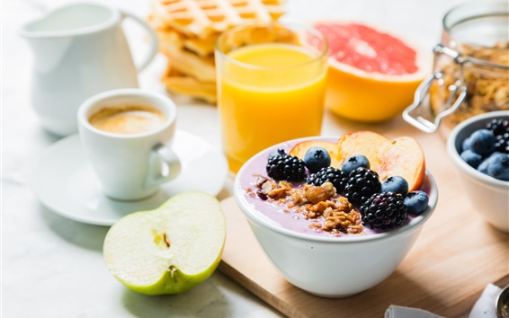 Wallpaper Yogurt, orange juice, coffee, half an apple
