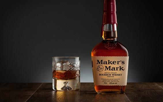 Fond d'écran Boissons alcoolisées, whisky, bouteille, tasse