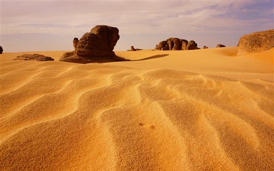 壁紙 アルジェリア、砂丘、砂漠、石