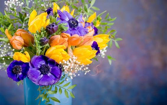 Papéis de Parede Anêmonas, tulipas, flores coloridas, vaso