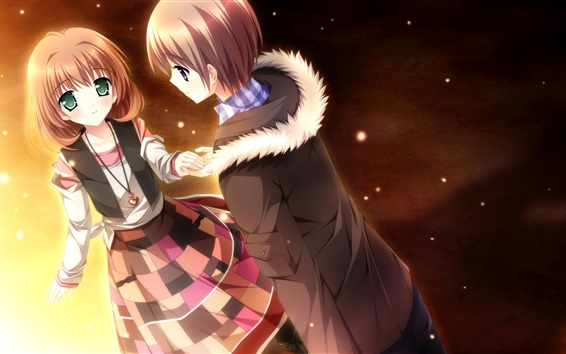Wallpaper Anime girl and boy, lovers