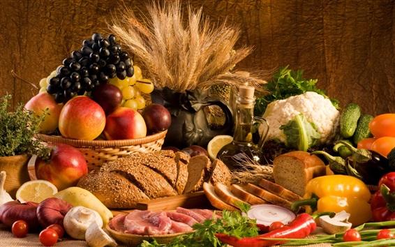 Papéis de Parede Maçãs, uvas, pão, carne, legumes, pimentos