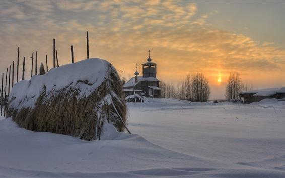 Обои Архангельская область, русский, церковь, деревня, снег, деревья, закат