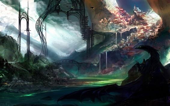 Wallpaper Art drawing, city, dragon, morden