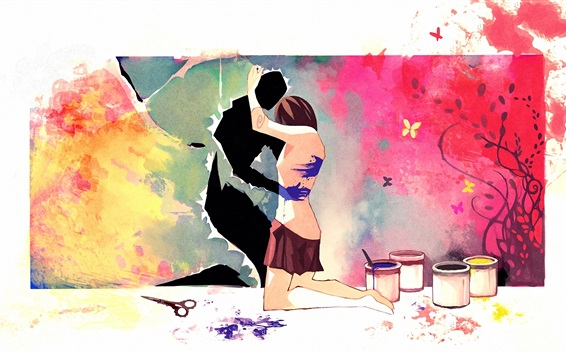 Wallpaper Art painting, lovers, hug, scissors, paint