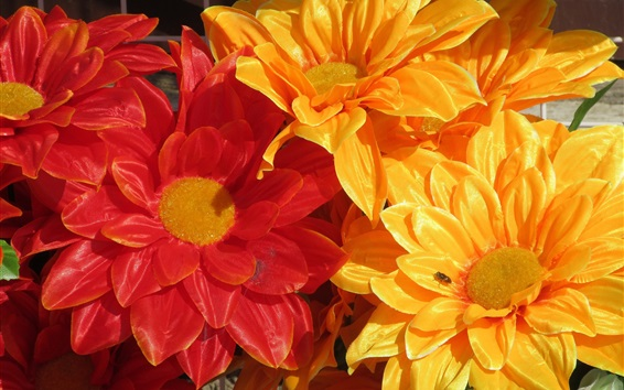 Wallpaper Artificial flowers, yellow and red