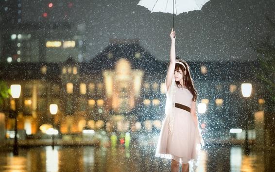 Wallpaper Asian girl in the rain, umbrella, city night, lights, glare