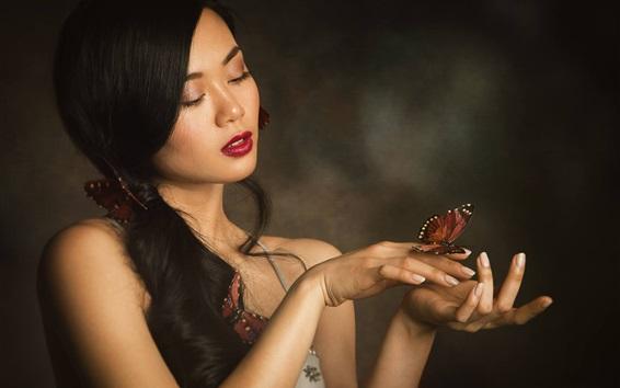 Wallpaper Asian girl, lovely, long hair, butterfly