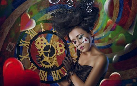 Wallpaper Asian girl, makeup, clock, love hearts, creative design
