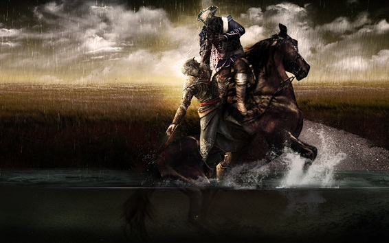 Papéis de Parede Assassin's Creed, cavalo, pântano, sangue