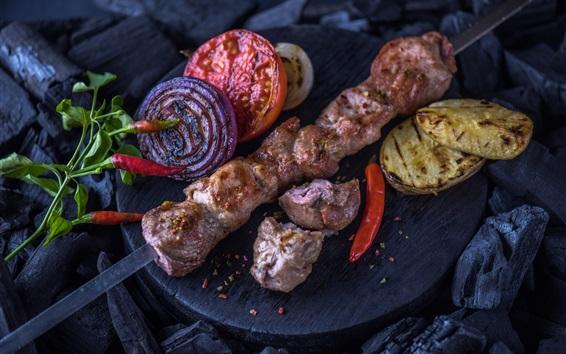 Wallpaper BBQ, potatoes, kebab, tomato, onion