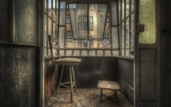 Papéis de Parede Varanda, cadeira, janelas, poeira