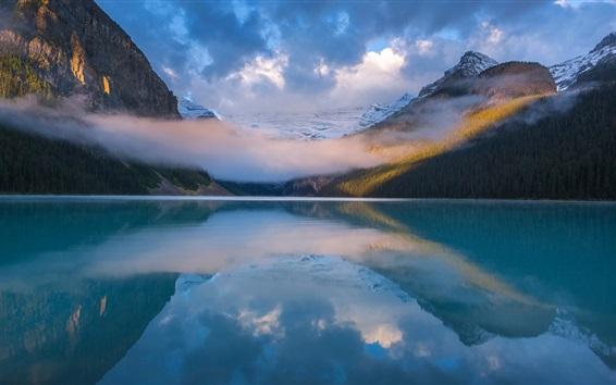 Обои Национальный парк Банф, озеро, отражение воды, горы, облака, Канада