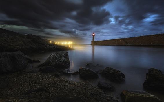 Papéis de Parede Bastia, Córsega, farol, pedras, mar, noite, luzes