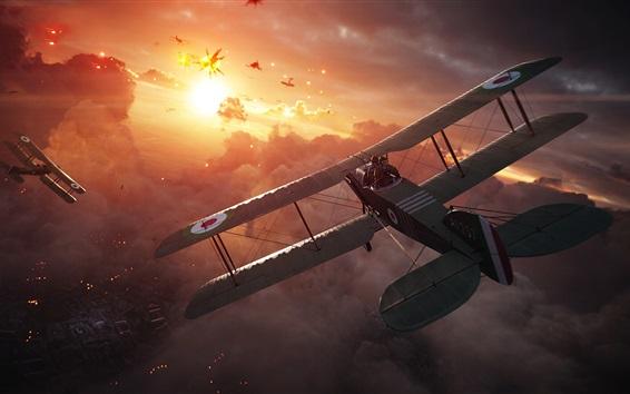 Wallpaper Battlefield 1, planes, fighter, attack, clouds