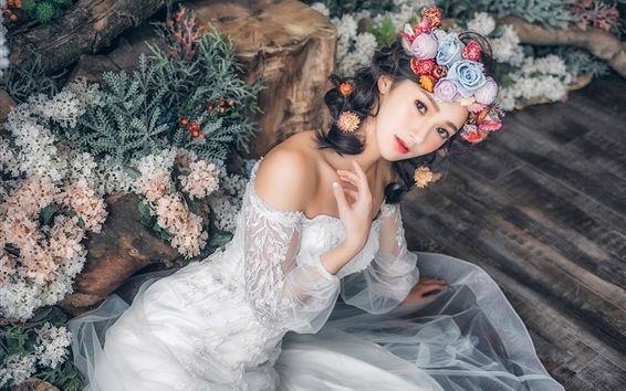 Wallpaper Beautiful Asian girl, wedding, bride, white skirt, flowers