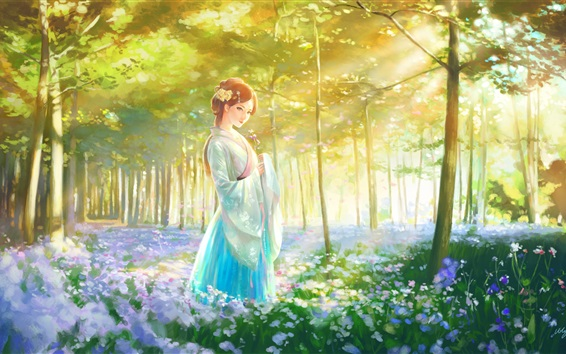 Wallpaper Beautiful Chinese girl, retro style, forest, flowers, art painting