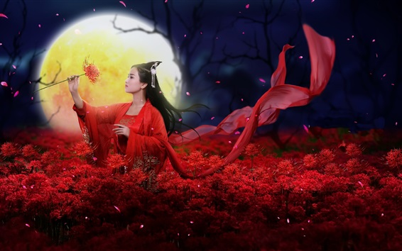 Wallpaper Beautiful Chinese girl, retro style, red dress, flowers, moon