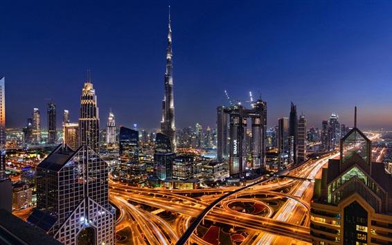 Wallpaper Beautiful Dubai city at night, skyscrapers, tower, lights, roads