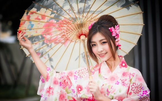 Wallpaper Beautiful Japanese girl, smile, kimono, umbrella