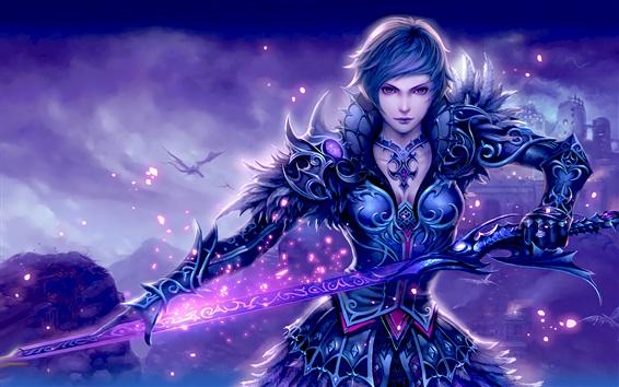 Wallpaper Beautiful warrior girl, sword, shine
