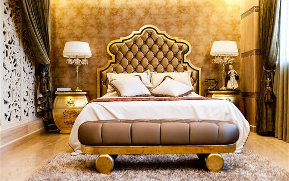Wallpaper Bedroom, luxury style, bed, lamps