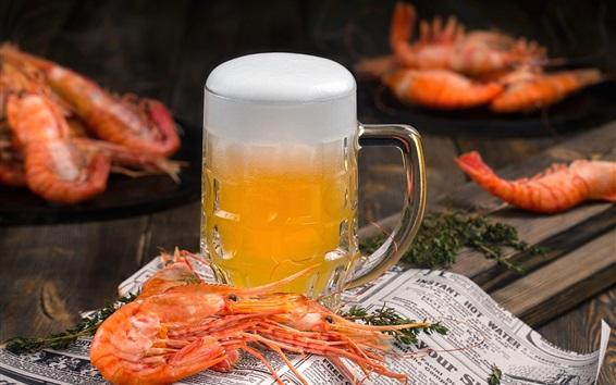 Fond d'écran Bière, mousse, crevettes