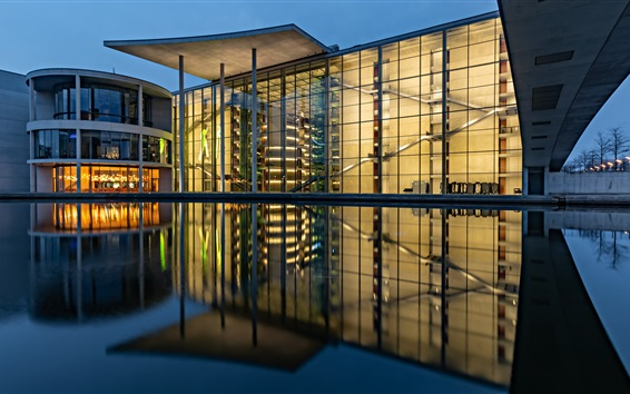 Fond d'écran Berlin, Allemagne, Paul Lobe Haus, nuit, lumières