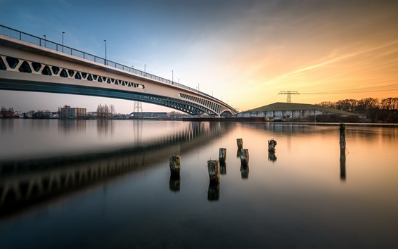 Wallpaper Berlin, Germany, bridge, river, city, power lines, sunset