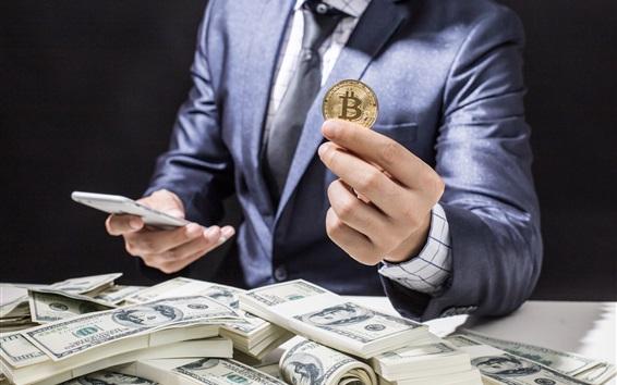 Wallpaper Bitcoin, US dollars, money