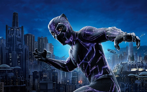 Wallpaper Black Panther 2018, mask, city