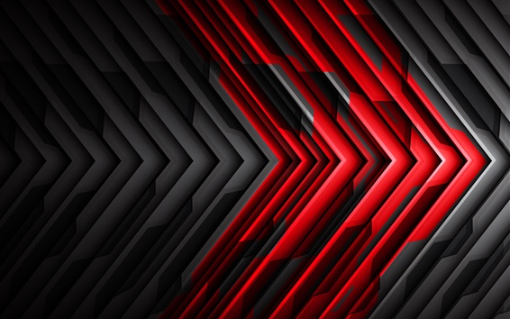 Wallpaper Black and red striped arrow, abstract