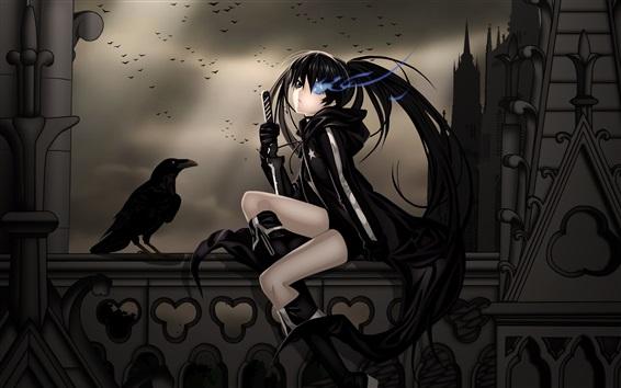 Wallpaper Black dress anime girl, crow, sword