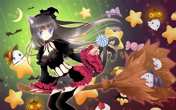 Wallpaper Black skirt anime girl, broom flying, witch, stars