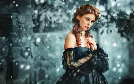 Wallpaper Black skirt girl, curly hair, snow, winter